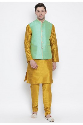Yellow,Green Colour Readymade Kurta Pajama With Jacket.
