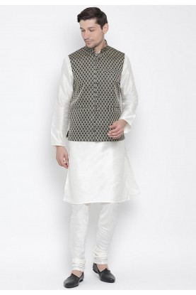 White,Black Colour Cotton Silk Kurta Pajama.