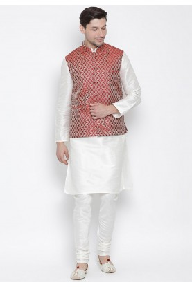 White,Maroon Colour Party Wear Kurta Pajama.