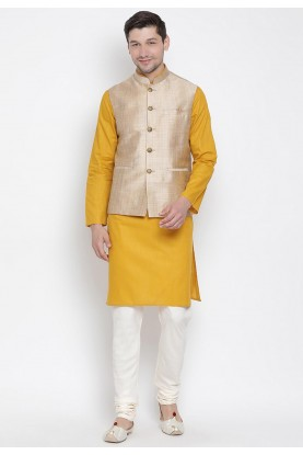 Yellow,Beige Traditional Kurta Pajama.