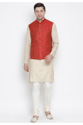Beige,Maroon Colour Kurta Pajama With Jacket.