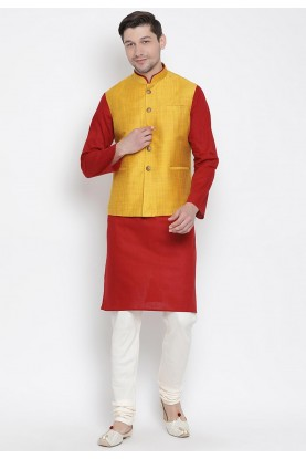 Designer Kurta Pajama Maroon,Yellow Colour.