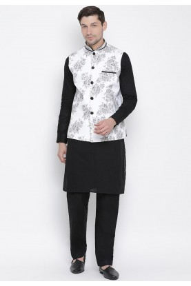 Black,White Colour Readymade Kurta Pajama.