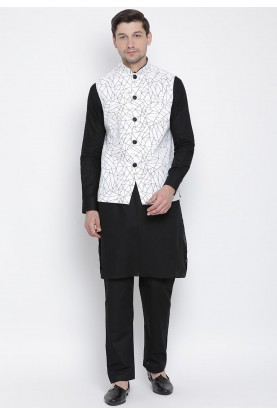 Black,White Colour Kurta Pajama With Jacket.