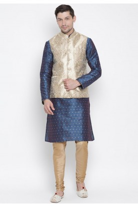 Blue,Golden Colour Readymade Kurta Pajama.