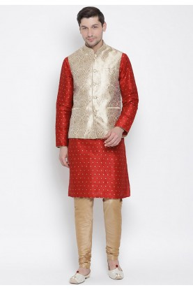 Maroon,Golden Colour Party Wear Kurta Pajama.
