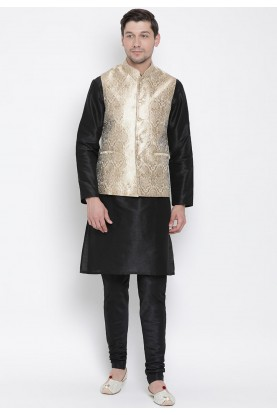 Black,Golden Colour Kurta Pajama With Jacket.