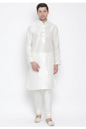 White Colour Regular Wear Kurta Pajama.