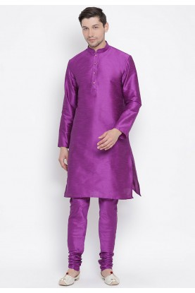 Purple Colour Cotton Silk Kurta Pajama.