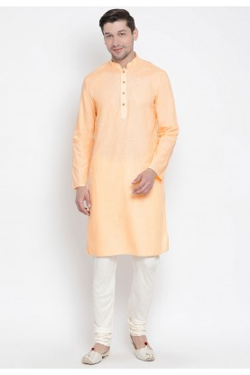 Peach Color Cotton Readymade Kurta Pyjama.