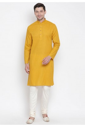 Yellow Colour Men's Wear Kurta Pyjama.