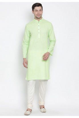 Mint Green Color Cotton Regular Kurta Pyjama.