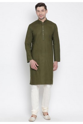 Mehandi Color Cotton Kurta Pyjama.