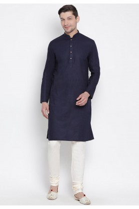 Navy Blue Colour Men's Kurta Pyjama.