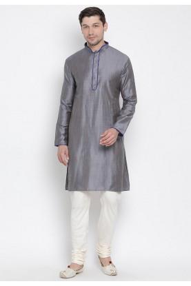 Grey Colour Cotton Readymade Kurta Pajama.