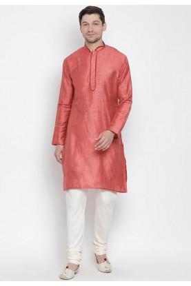 Coral Colour Cotton Men's Kurta Pajama.