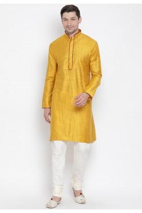 Yellow Colour Indian Traditional Kurta Pyjama.