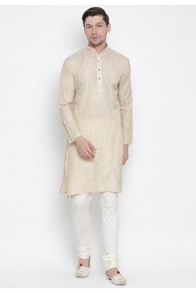 Beige Colour Cotton Silk Men's Wear Kurta Pyjama.