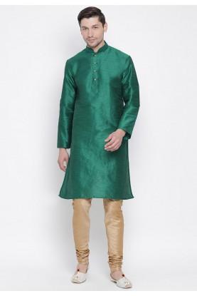 Green Colour Cotton Silk Indian Kurta Pyjama.