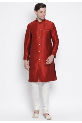Designer Kurta Pyjama Maroon Color