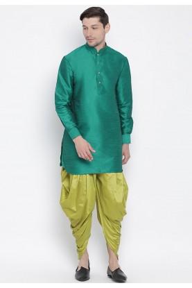 Green Colour Cotton Silk Men's Dhoti Kurta.