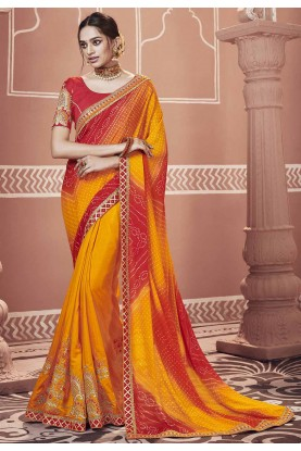 Red,Yellow Colour Traditional Saree.