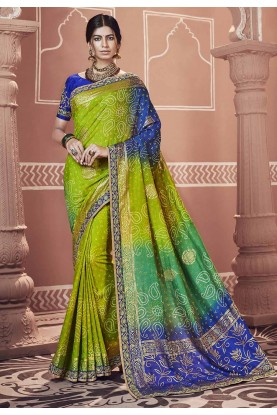 Green,Blue Color Indian Saree.