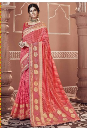 Red Color Georgette Saree.