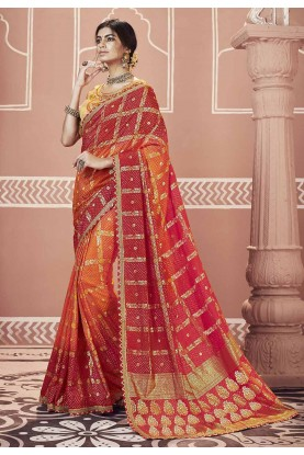 Red,Orange Color Party Wear Saree.