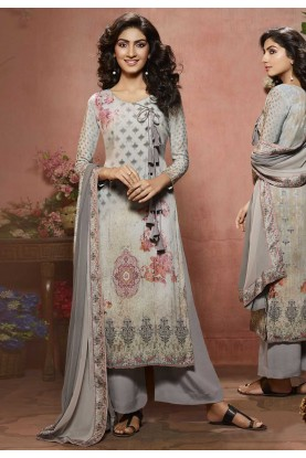 Grey Color Casual Salwar Suit.