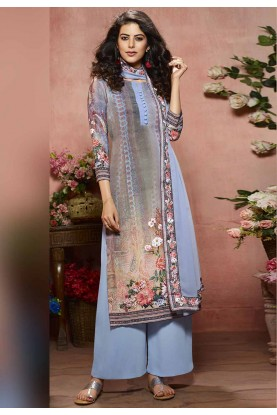 Blue Color Digital Print Palazzo Suit.