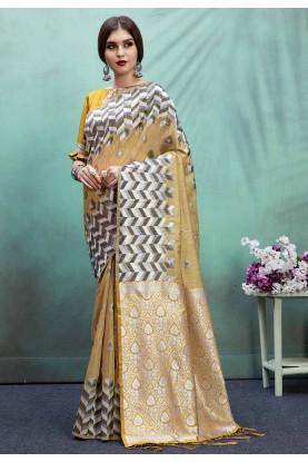 Yellow Color Printed Saree.