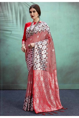 Red Color Casual Saree.