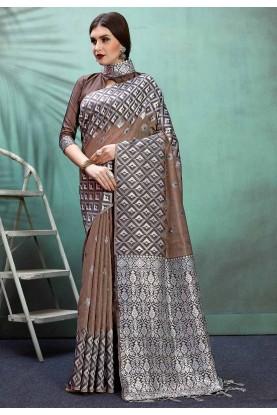 Brown Colour Banarasi Silk Sari.