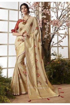 Beige Color Indian Designer Saree.