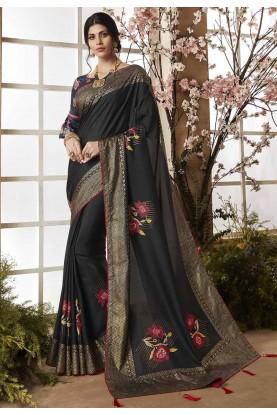 Black Color Casual Saree.