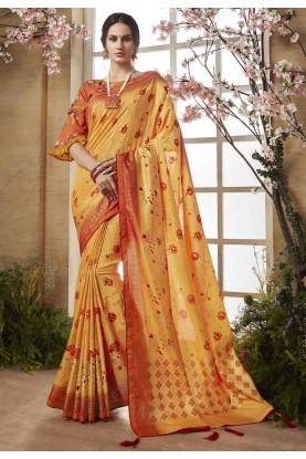 Yellow Color Printed Silk Saree.