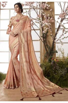Cream Color Silk Saree.