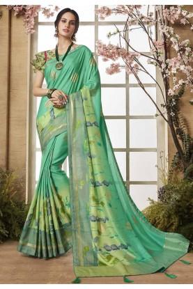 Green Color Printed Sari.