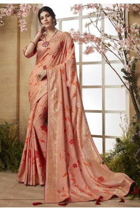 Peach Color Dola Silk Saree.