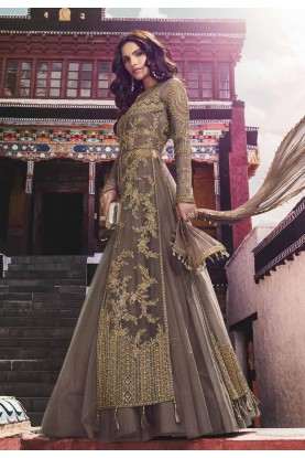 Brown Color Net Salwar Suit.