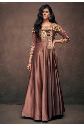 Readymade Designer Gown in Brown Color.