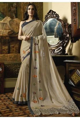 Beige Color Silk,Georgette Saree.