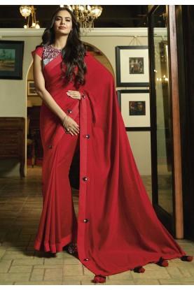 Red Color Designer Saree.