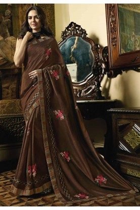 Brown Color Silk Party Wear Saree.