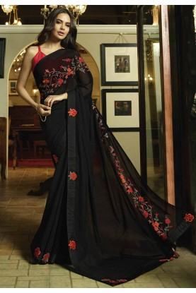 Party Wear Saree in Black Color.