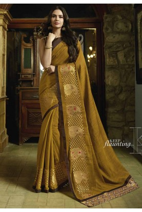 Yellow Color Silk Indian Saree.
