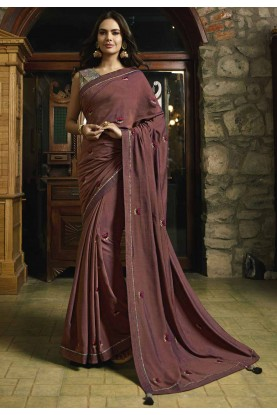 Maroon Color Indian Designer Sari.