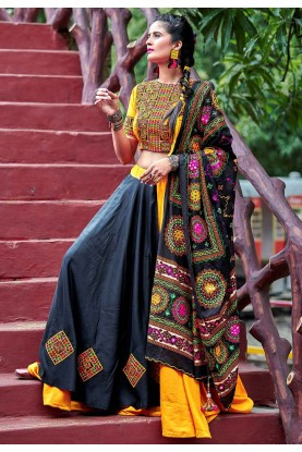 Black,Yellow Colour Printed Lehenga Choli.