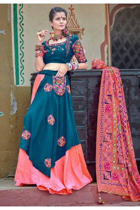Green Colour Cotton Lehenga Choli.